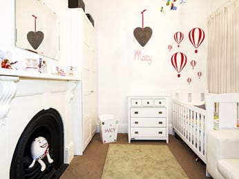 Children's room bedroom design idea with carpet & fireplace using red colours - Bedroom photo 524817