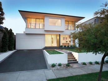 Concrete modern house exterior with balcony & landscaped garden - House Facade photo 1603237