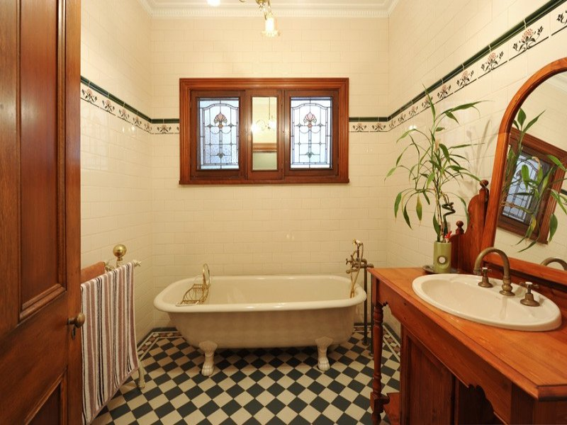 Country Bathroom Design With Corner Bath Using Stained Glass Bathroom Photo 524801