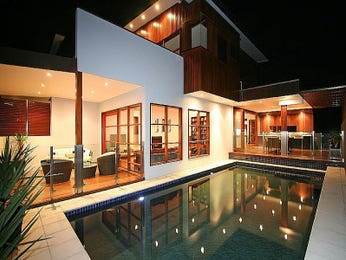 Modern pool design using glass with bbq area decorative lighting pool photo 106952 Red house hotel swimming pool