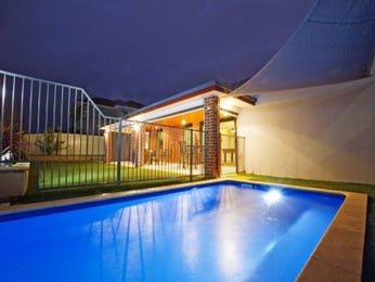 In-ground pool design using wrought iron with cabana & decorative lighting - Pool photo 1595463