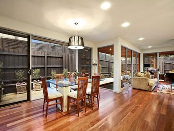 Classic dining room idea with floorboards & floor-to-ceiling windows - Dining Room Photo 6904605