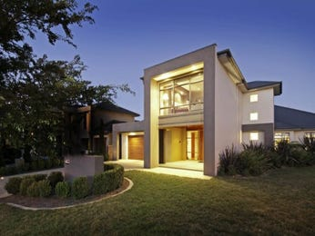 Brick modern house exterior with french doors & decorative lighting - House Facade photo 107801