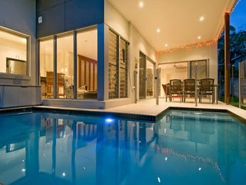 In-ground pool design using bluestone with bbq area & decorative lighting - Pool photo 108552