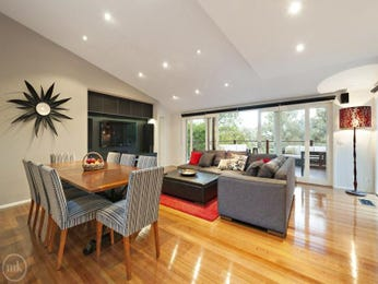 Dining-living living room using grey colours with floorboards & floor-to-ceiling windows - Living Area photo 8114233