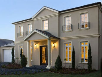 Brick georgian house exterior with french doors & feature lighting - House Facade photo 108829