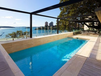 Swim spa pool design using pebbles with verandah & latticework fence - Pool photo 109898