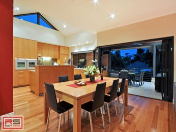 Modern dining room idea with floorboards & floor-to-ceiling windows - Dining Room Photo 8175269