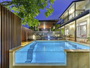 Modern pool design using tiles with glass balustrade & decorative lighting - Pool photo 111125