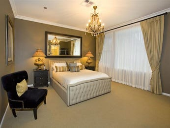 Classic bedroom design idea with carpet & sash windows using beige colours - Bedroom photo 114226