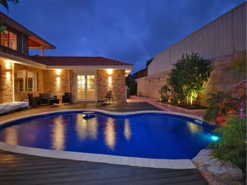 Freeform pool design using slate with retaining wall & decorative lighting - Pool photo 880413