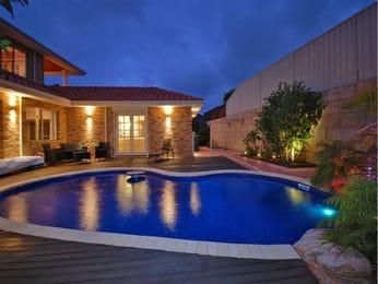 Freeform pool design using slate with retaining wall & decorative lighting - Pool photo 880413