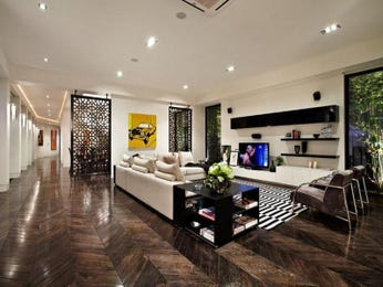 Open plan living room using black colours with hardwood & floor-to-ceiling windows - Living Area photo 166654