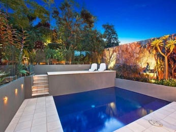 In-ground pool design using stone with decking & decorative lighting - Pool photo 167491