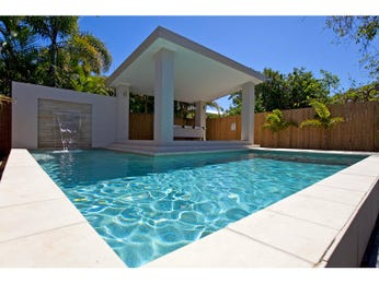 Geometric pool design using tiles with gazebo & outdoor furniture setting - Pool photo 435836
