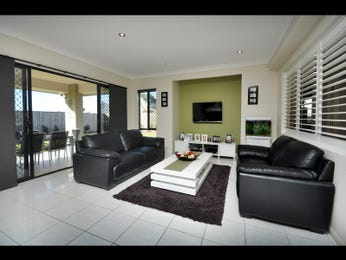 Open plan living room using black colours with leather & louvre windows - Living Area photo 754393