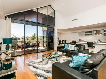 Kitchen-living living room using black colours with floorboards & floor-to-ceiling windows - Living Area photo 16793253