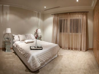 Romantic bedroom design idea with carpet & built-in wardrobe using beige colours - Bedroom photo 452103