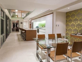 Modern dining room idea with glass & floor-to-ceiling windows - Dining Room Photo 17169729