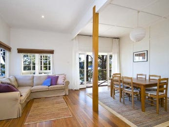 Dining-living living room using white colours with wood panelling & floor-to-ceiling windows - Living Area photo 486854