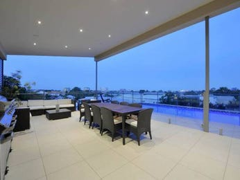 Indoor-outdoor outdoor living design with balcony & ground lighting using tiles - Outdoor Living Photo 450731