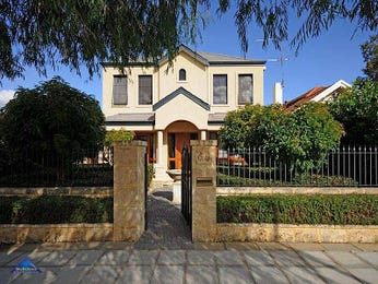 Concrete modern house exterior with brick fence & hedging - House Facade photo 513293