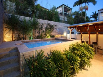 In-ground pool design using pavers with gazebo & decorative lighting - Pool photo 236886