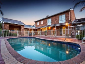 Freeform pool design using brick with pool fence & ground lighting - Pool photo 615990