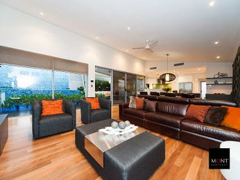 Open plan living room using black colours with floorboards & floor-to-ceiling windows - Living Area photo 8687045