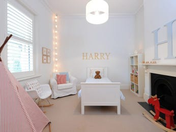 Children's room bedroom design idea with carpet & fireplace using pastel colours - Bedroom photo 295392