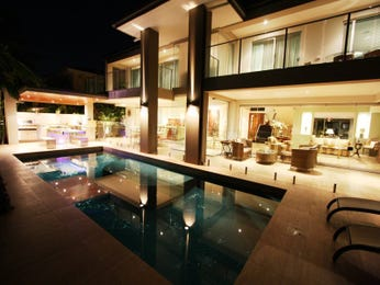 In-ground pool design using glass with outdoor dining & ground lighting - Pool photo 424428