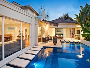 In-ground pool design using brick with glass balustrade & decorative lighting - Pool photo 297409