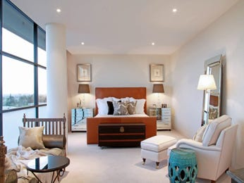 Classic bedroom design idea with carpet & floor-to-ceiling windows using white colours - Bedroom photo 921030