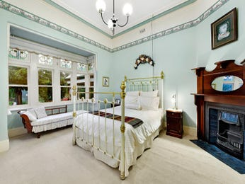 Romantic bedroom design idea with tiles & sash windows using white colours - Bedroom photo 1099654
