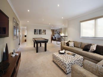 Dining-living living room using gold colours with leather & bi-fold doors - Living Area photo 298950