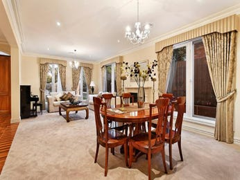 Classic dining room idea with carpet & fireplace - Dining Room Photo 741692