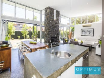 Country dining room idea with polished concrete & floor-to-ceiling windows - Dining Room Photo 7082353
