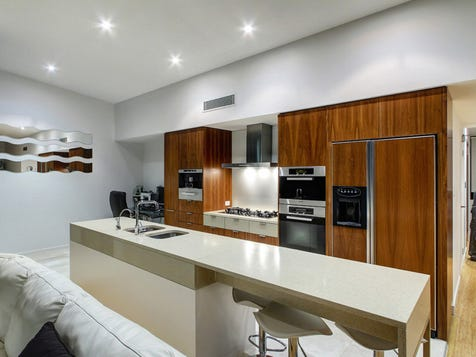 View the island bench photo collection on home ideas for Galley kitchen designs with breakfast bar