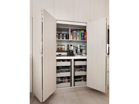 MY ISLAND HOME Bi-Fold door, track leading to an appliance / pantry cabinet. Lots of drawers included as well as a bench top fitted internally.  This becomes a convenient appliance centre tucked away behind bi-fold doors.