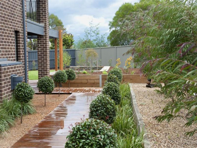 Australian native garden design using pebbles with deck & hedging ...