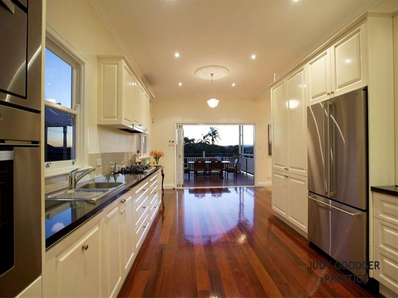 Modern galley kitchen design using floorboards kitchen for Modern galley kitchen ideas