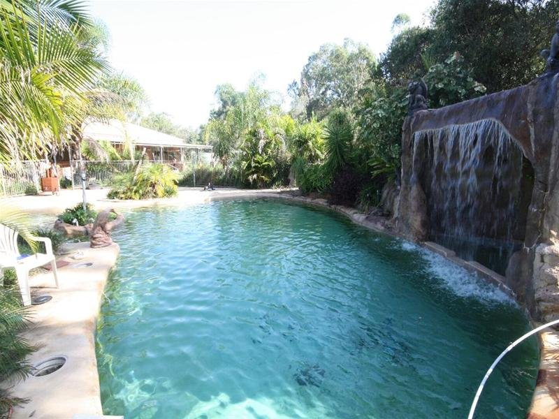 Tropical pool design using stone with cabana waterfall for Tropical pools