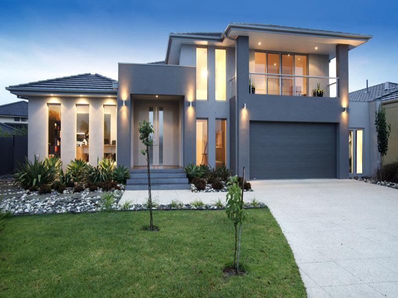 Photo of a concrete house exterior from real australian for Contemporary house facade design