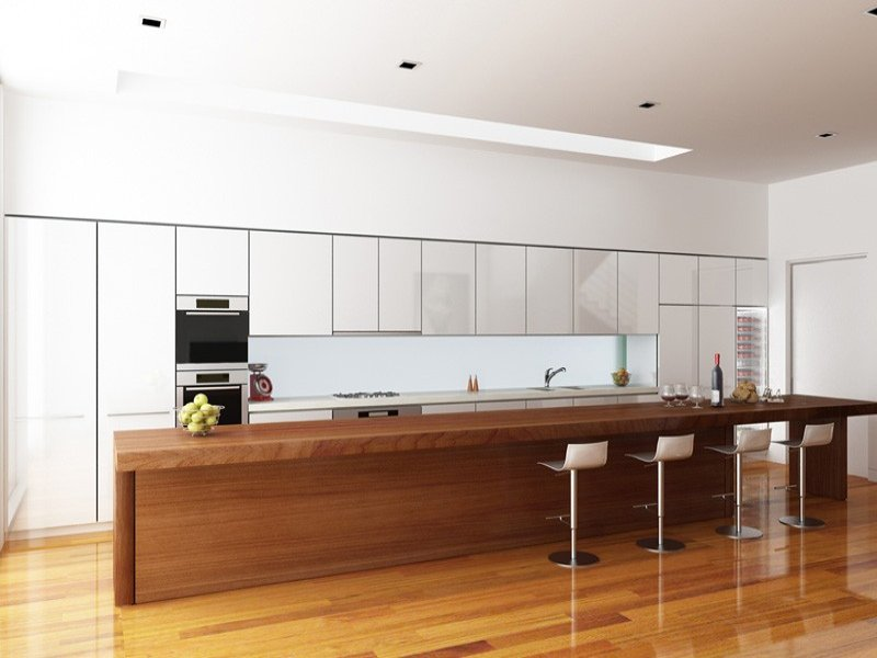 Modern island kitchen design using floorboards kitchen for Kitchen designs long island