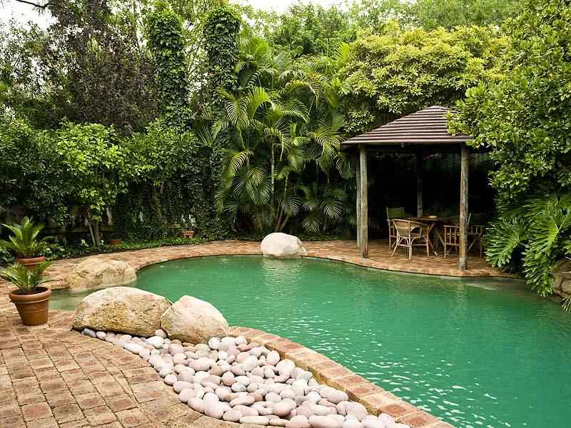 Tropical Pool Design Using Slate With Gazebo amp Rockery