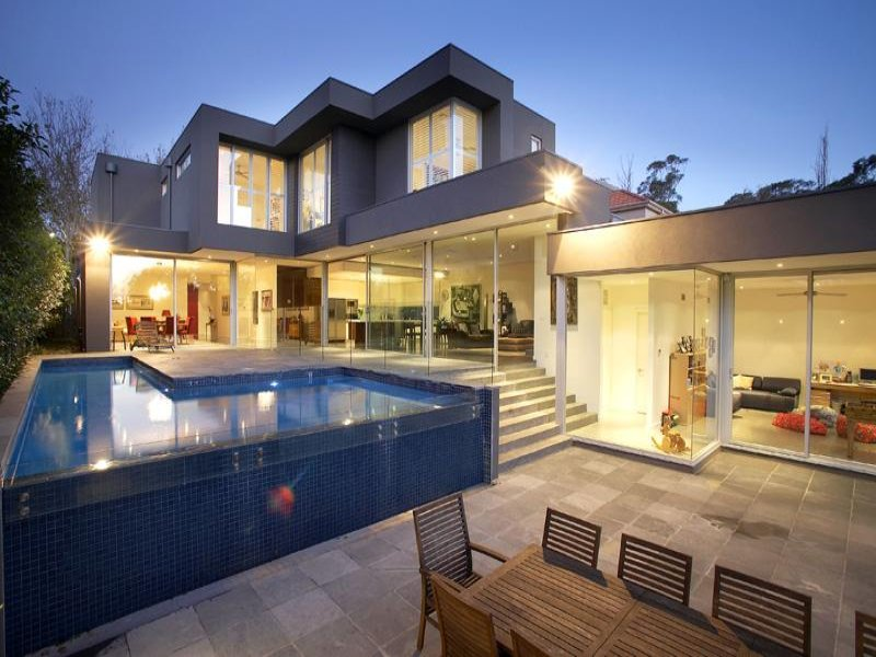 Multi Level Outdoor Living Design With Pool Decorative Lighting Using Bluestone Outdoor Living