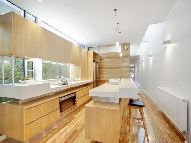 Modern galley kitchen design using hardwood kitchen for New galley kitchen designs