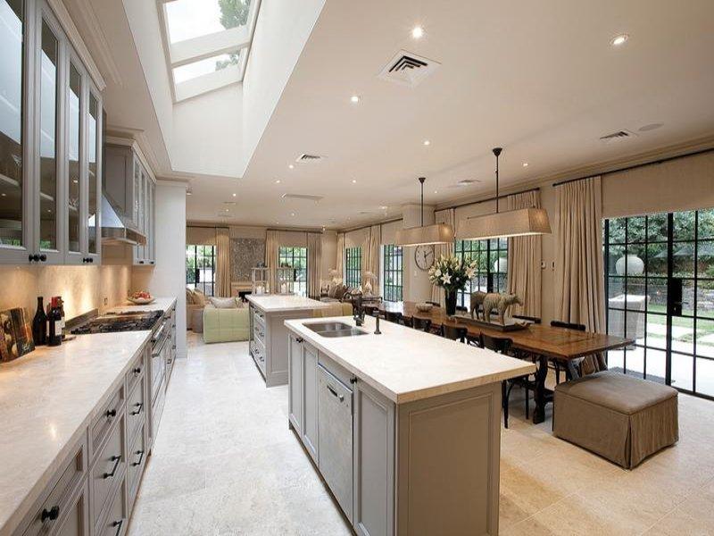 Modern Island Kitchen Design Using Tiles Photo