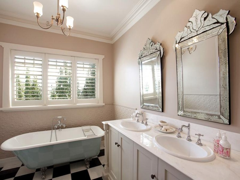 Country Bathroom Design With Twin Basins Using Ceramic Bathroom
