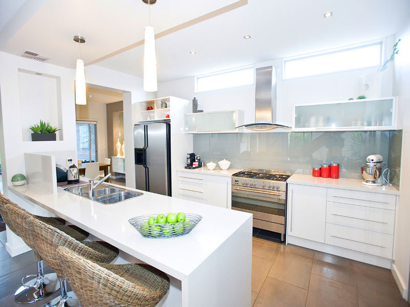 down lighting in a kitchen design from an australian home